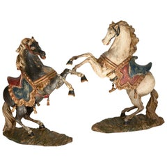 Pair of Rising Horses, Bavaria Oberammergau circa 1930 Carved Wood, Painted