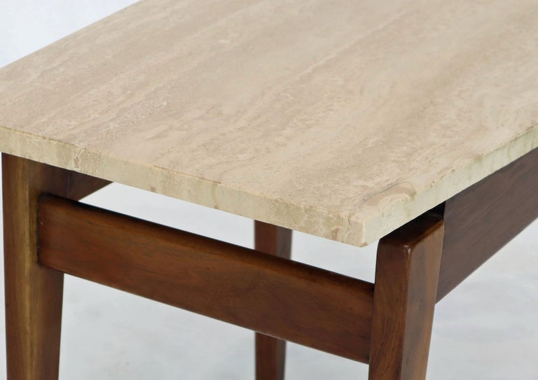 Pair of Risom Walnut End Tables W/ Wedge Shape Travertine Marble Tops  For Sale 3