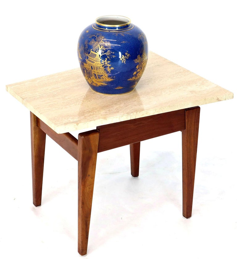 Pair of Risom Walnut End Tables W/ Wedge Shape Travertine Marble Tops  For Sale 4