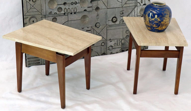 Pair of Risom Walnut End Tables W/ Wedge Shape Travertine Marble Tops  For Sale 5