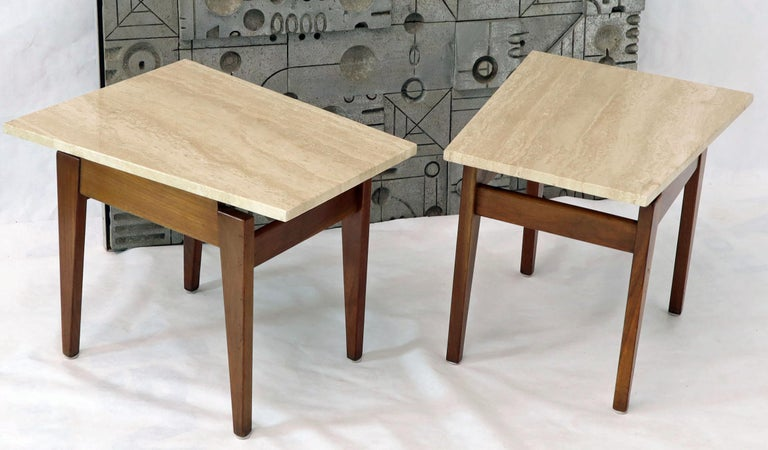 Pair of Risom Walnut End Tables W/ Wedge Shape Travertine Marble Tops  For Sale 6