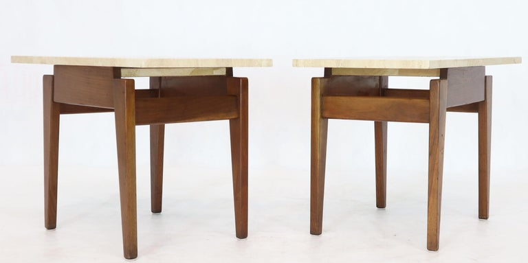 Pair of Mid-Century Modern Risom wedge shape tops end side tables in oiled walnut.