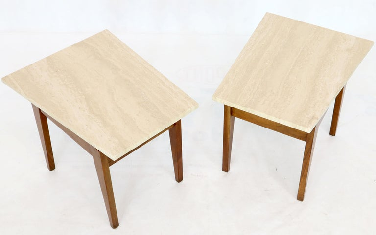 Mid-Century Modern Pair of Risom Walnut End Tables W/ Wedge Shape Travertine Marble Tops  For Sale