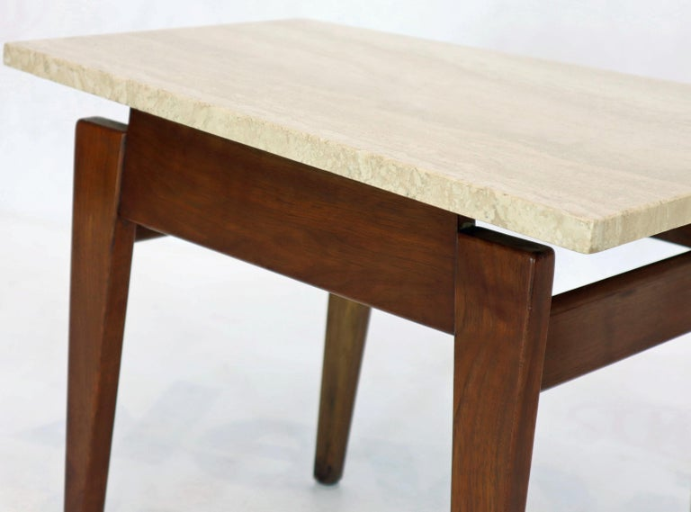 American Pair of Risom Walnut End Tables W/ Wedge Shape Travertine Marble Tops  For Sale