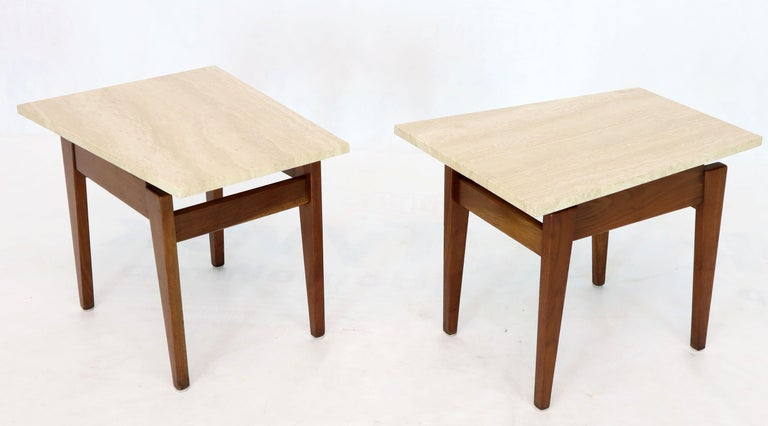 Oiled Pair of Risom Walnut End Tables W/ Wedge Shape Travertine Marble Tops  For Sale