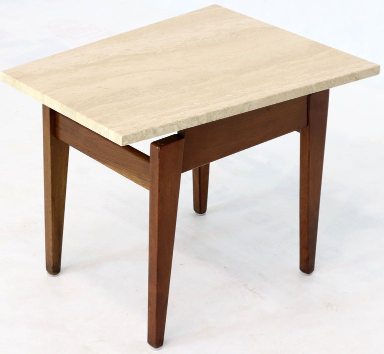 Pair of Risom Walnut End Tables W/ Wedge Shape Travertine Marble Tops  In Good Condition For Sale In Blairstown, NJ
