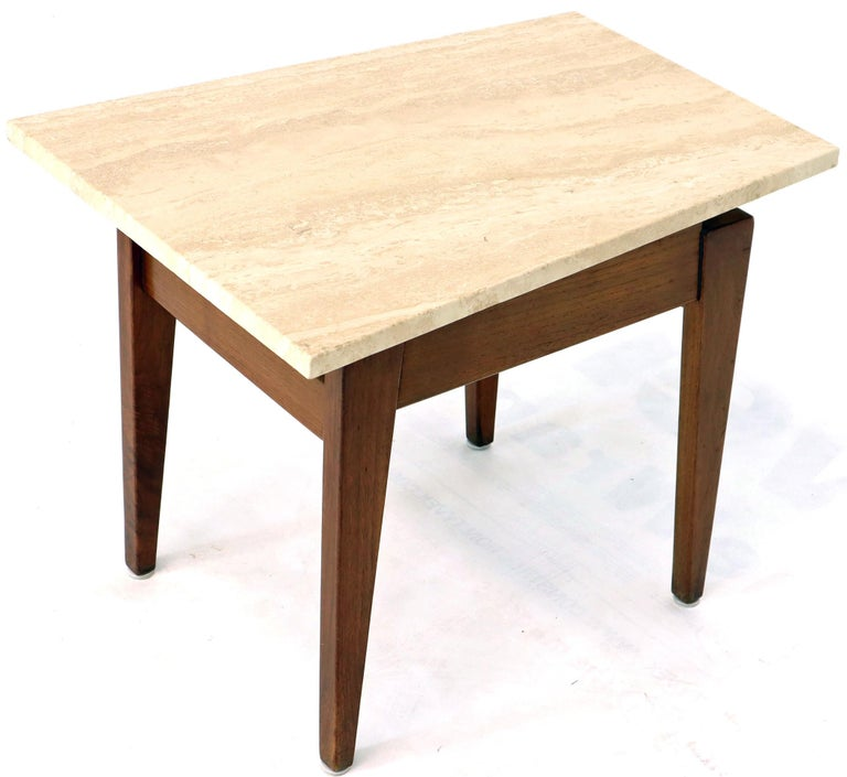20th Century Pair of Risom Walnut End Tables W/ Wedge Shape Travertine Marble Tops  For Sale