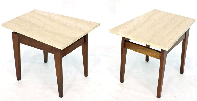 Pair of Risom Walnut End Tables W/ Wedge Shape Travertine Marble Tops  For Sale 2