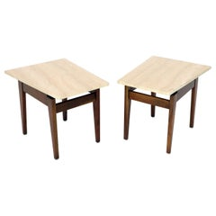 Pair of Risom Walnut End Tables W/ Wedge Shape Travertine Marble Tops