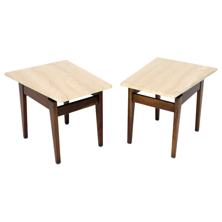 Pair of Risom Walnut End Tables W/ Wedge Shape Travertine Marble Tops  For Sale