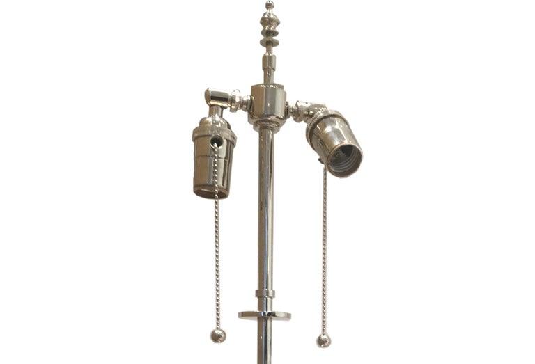 American Pair of Robert Altman Metropolis Nickel-Plated Brass Table Lamps For Sale