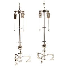 Pair of Robert Altman Metropolis Nickel-Plated Brass Table Lamps