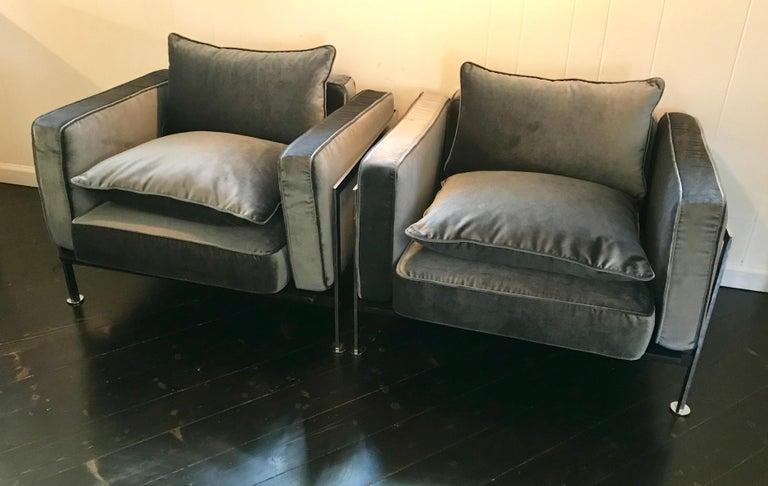 Fabric Pair of Robert Haussmann Chrome Frame Club Chairs, Slate Gray Velvet, 1970's For Sale