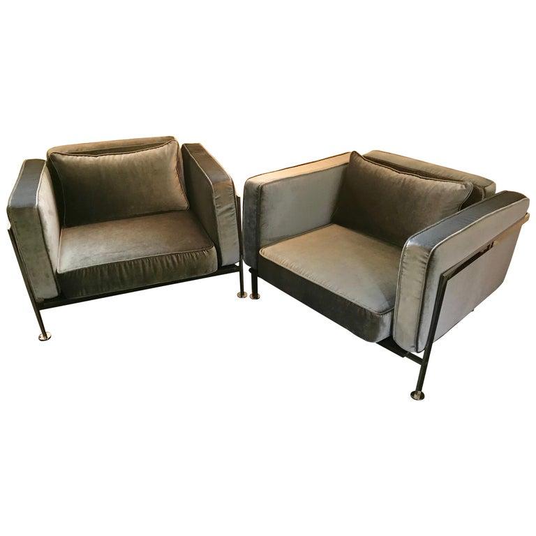 Pair of Robert Haussmann Chrome Frame Club Chairs, Slate Gray Velvet, 1970's For Sale