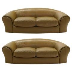 Pair of Robert Venturi Grandma Sofas in the Original Tan / Taupe Leather, Knoll