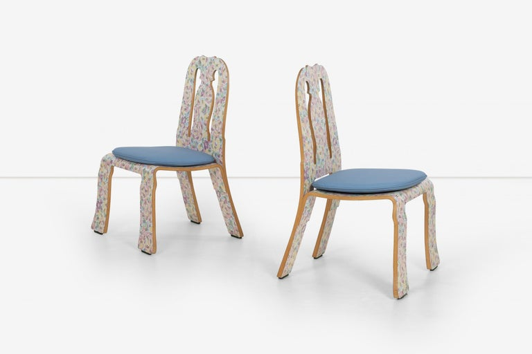 Carved Pair of Robert Venturi Queen Anne Chairs for Knoll For Sale
