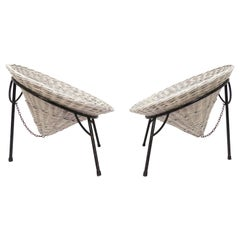 "Pair of Roberto Mango Wicker ""Sunflower"" Garden Chairs for Tecno, circa 1950s"