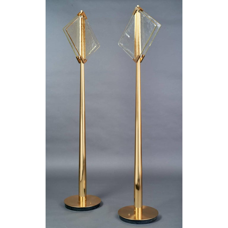 Mid-Century Modern Pair of Roberto Rida Floor Lamps with Vintage Venini Glass For Sale