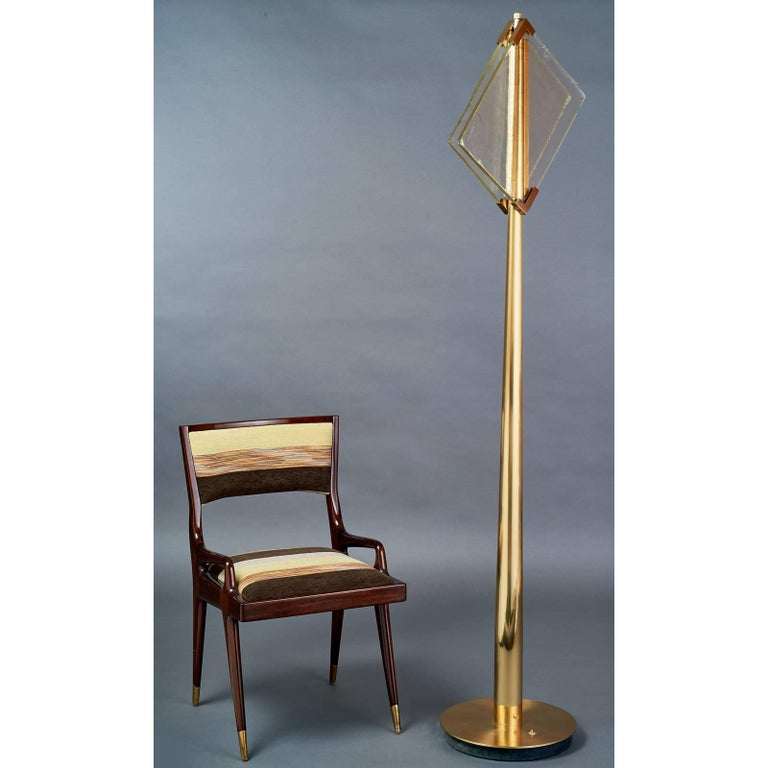 Italian Pair of Roberto Rida Floor Lamps with Vintage Venini Glass For Sale