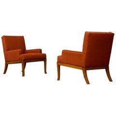 Pair of Robsjohn Gibbings Art Deco Lounge Chairs in Orange Fabric, 1950s