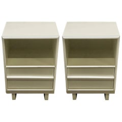 Pair of Robsjohn-Gibbons White Lacquered Nightstands