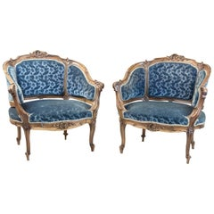 Pair of Rocaille Style Bergere Armchairs, Blue Velvet Trim, Napoleon III Period