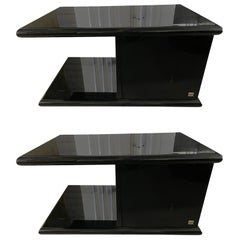 Pair of Roche Bobois Black Lacquer End or Night Tables, Circa 1985