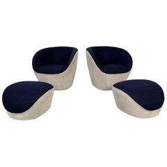 "Pair of Roche Bobois ""Edito"" Swivel Armchairs and Ottomans in Velvet and Wool"