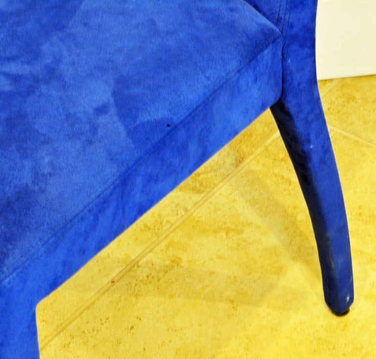 Pair of Roche Bobois Paris Blue Suede Covered Side Chairs 4