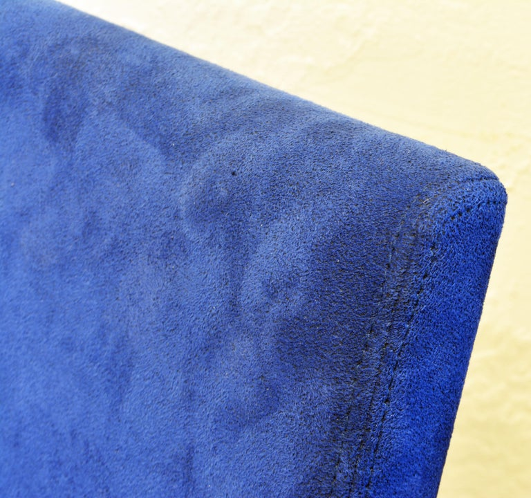 Pair of Roche Bobois Paris Blue Suede Covered Side Chairs 5