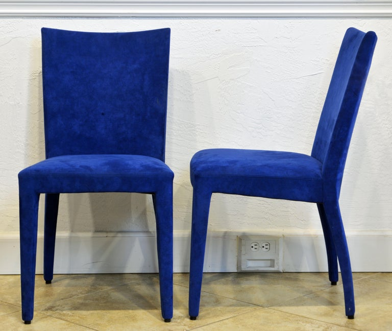 Modern Pair of Roche Bobois Paris Blue Suede Covered Side Chairs