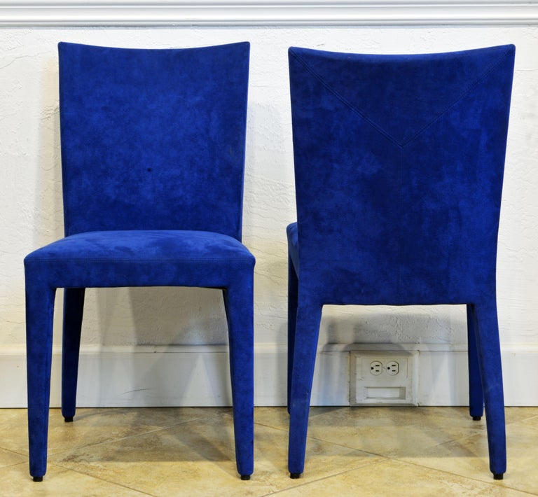 French Pair of Roche Bobois Paris Blue Suede Covered Side Chairs