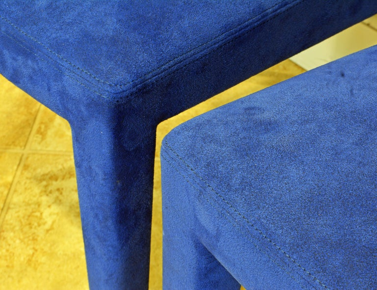 Contemporary Pair of Roche Bobois Paris Blue Suede Covered Side Chairs