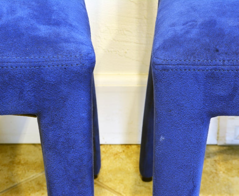 Pair of Roche Bobois Paris Blue Suede Covered Side Chairs 2