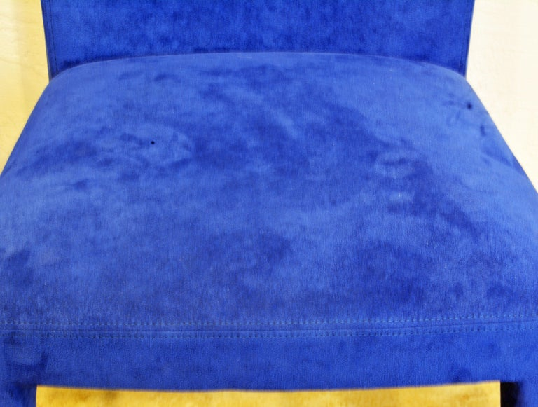 Pair of Roche Bobois Paris Blue Suede Covered Side Chairs 3