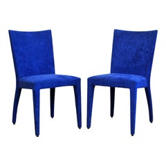 Pair of Roche Bobois Paris Blue Suede Covered Side Chairs