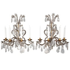 Pair of Rock Crystal 18th Century Style Wall Lights