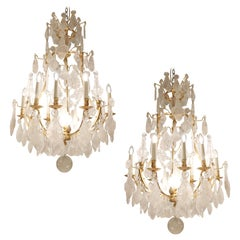 Pair of Rock Crystal and 22 Carat Gold-Plated Bronze Chandeliers