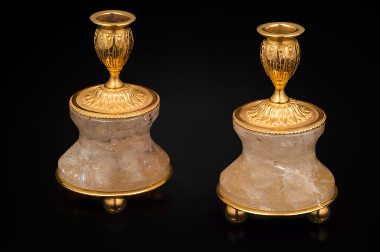 Very chic pair of rock crystal pair of lamps or candlesticks in the typic style of Louis the XVI th .
