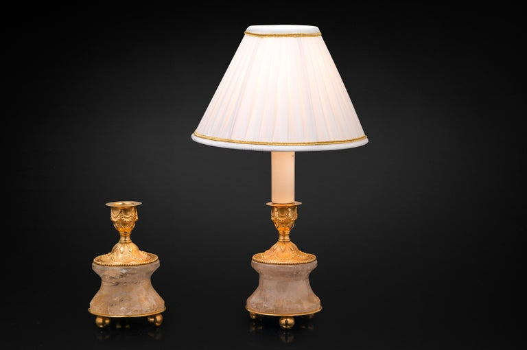 French Pair of Rock Crystal and Gilt-Bronze Lamps /Candlesticks Louis XVI Style For Sale