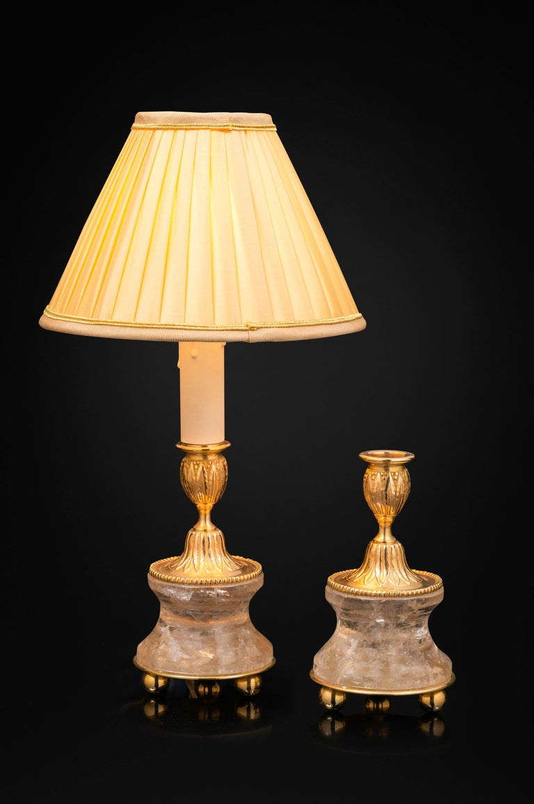Louis XVI Pair of Rock Crystal and Gilt Bronze Lamps or Candlesticks Louis the XVI Style For Sale