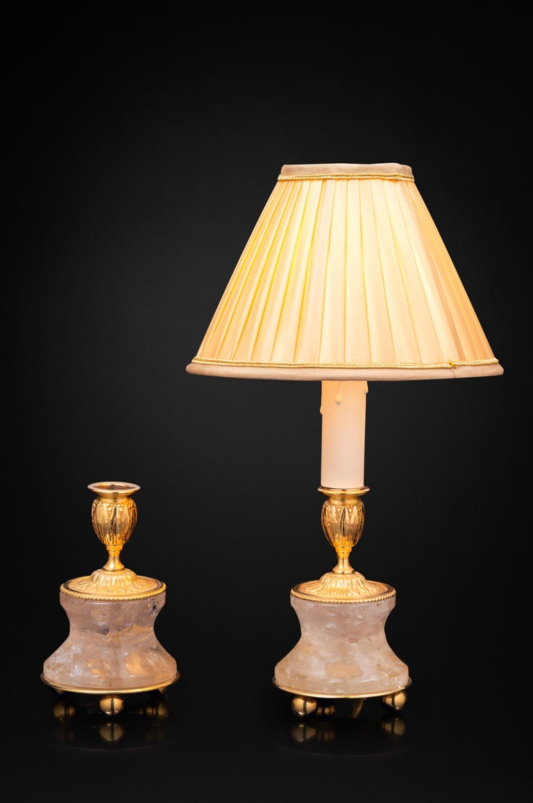 French Pair of Rock Crystal and Gilt-Bronze Lamps/Candlesticks Louis the XVI th Style For Sale