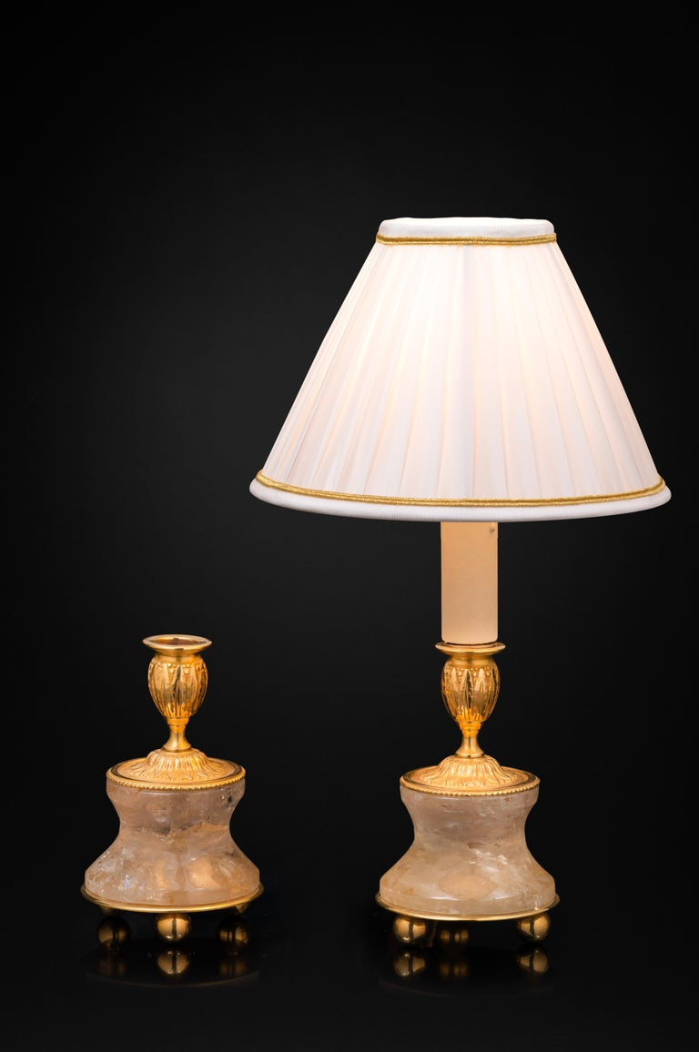Hand-Carved Pair of Rock Crystal and Gilt-Bronze Lamps/Candlesticks Louis the XVI th Style For Sale