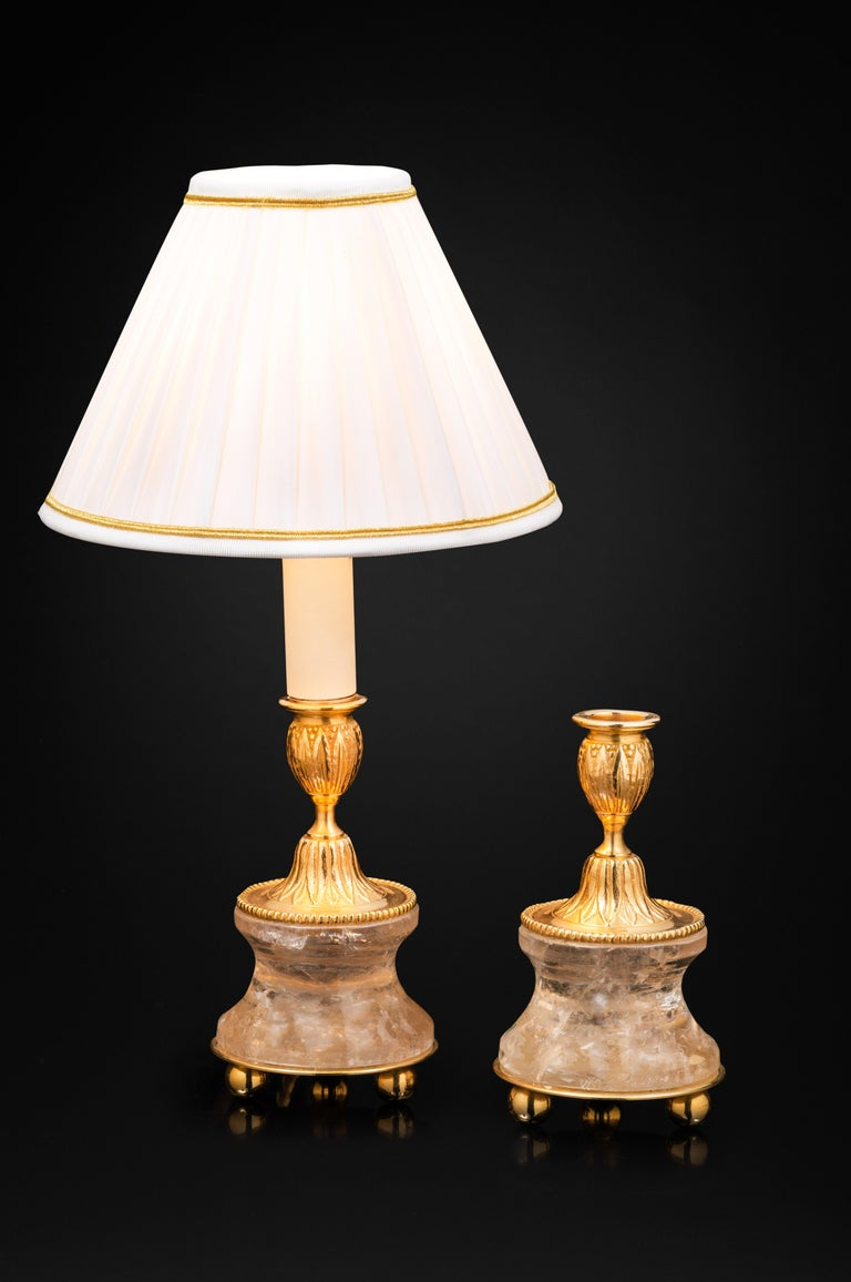 Hand-Carved Pair of Rock Crystal and Gilt Bronze Lamps or Candlesticks Louis the XVI Style For Sale