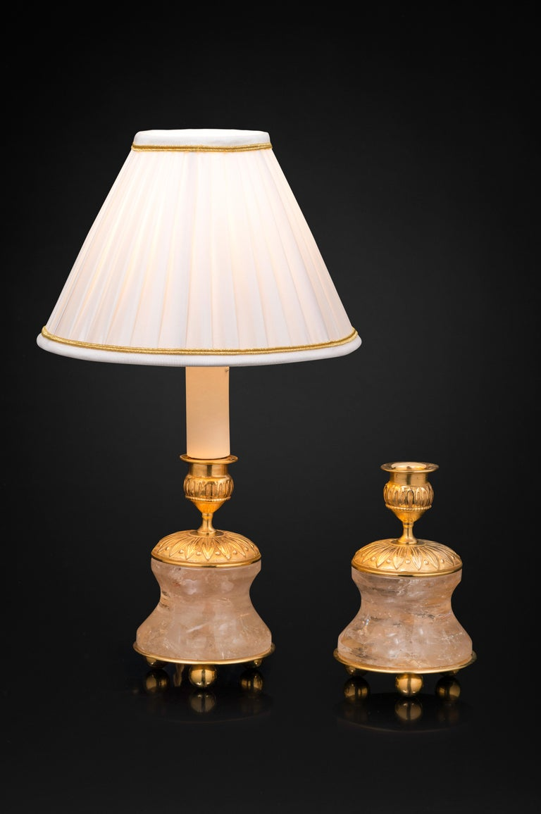 Pair of Rock Crystal and Gilt Bronze Lamps / Candlesticks Louis XVI Style In New Condition For Sale In SAINT-OUEN, FR