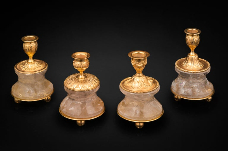 Contemporary Pair of Rock Crystal and Gilt Bronze Lamps / Candlesticks Louis XVI Style For Sale