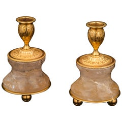 Pair of Rock Crystal and Gilt-Bronze Lamps/Candlesticks Louis XVI Style