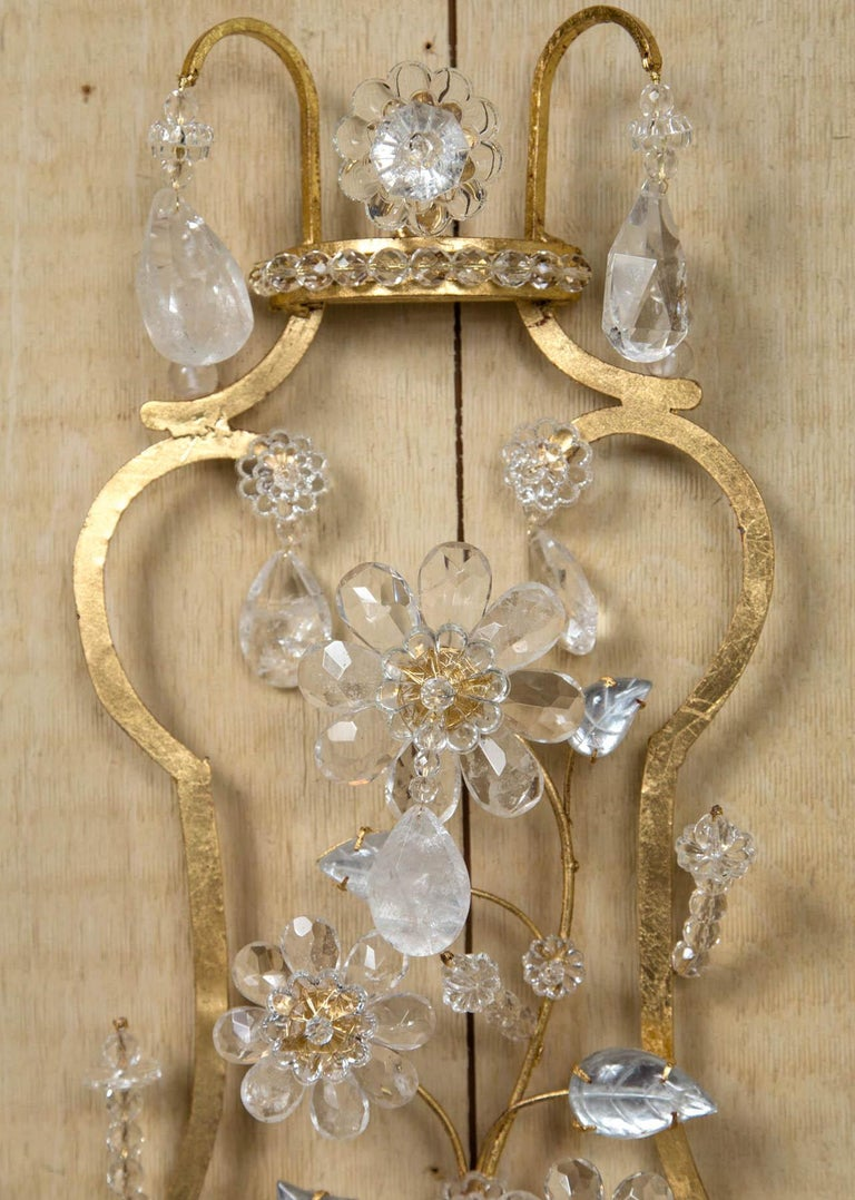 Pair of Rock Crystal and Gilt Metal Four-Light Scones In Excellent Condition For Sale In Woodbury, CT