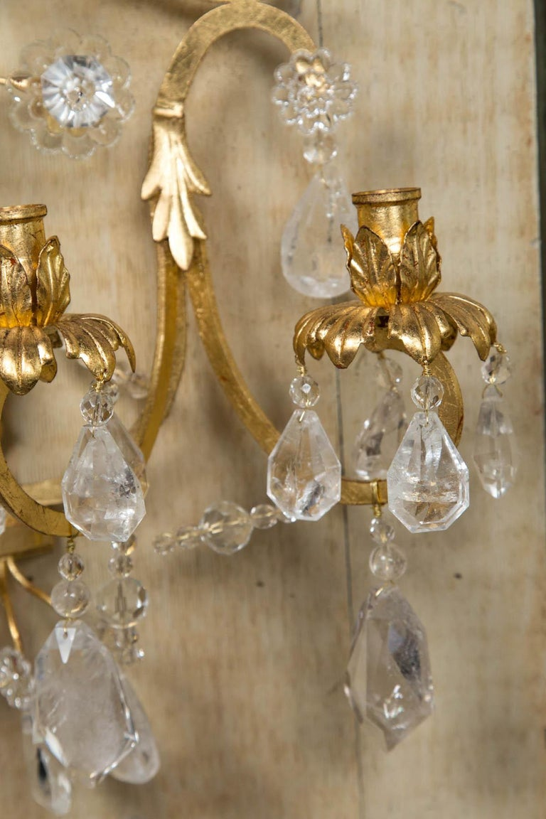 Contemporary Pair of Rock Crystal and Gilt Metal Four-Light Scones For Sale