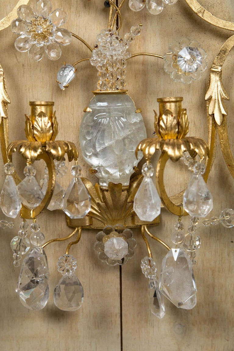 Pair of Rock Crystal and Gilt Metal Four-Light Scones For Sale 1